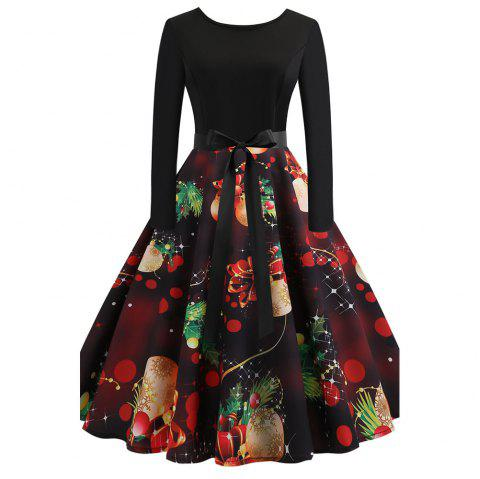 Fashion Lovely Women Christmas Vintage Print Criss Gown Evening Party Dress - multicolor A 2XL