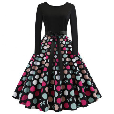 Women Style Christmas Print Criss Gown Evening Flower Party Dress - multicolor A S