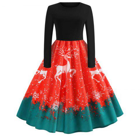 Style Women Deeer Christmas Print Criss Gown Evening Party Dress - multicolor B 2XL
