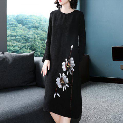 Chinese Ink and Wind Printing Dress - BLACK XL