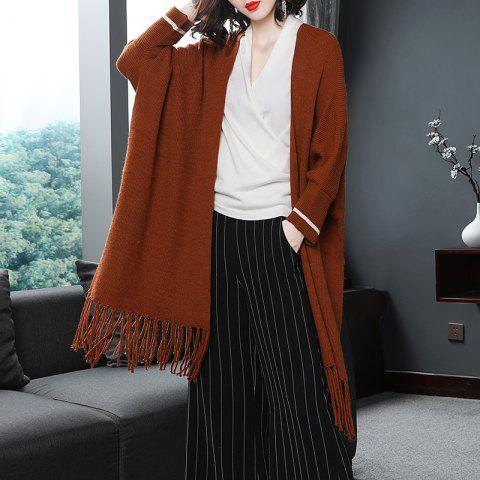 Autumn New Knitted Cardigan Tassel Coat - CHOCOLATE ONE SIZE