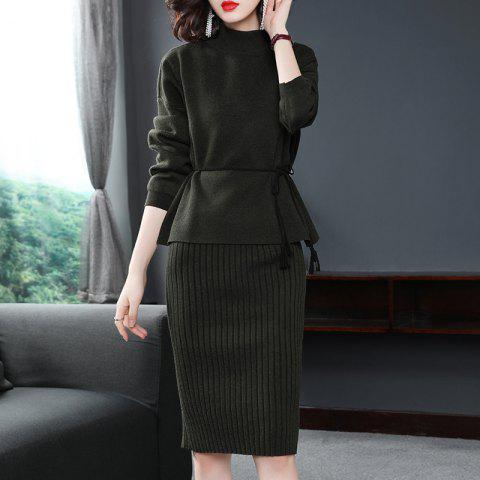 A Small Knitted Jacket with A Bottom Dress - ARMY GREEN ONE SIZE