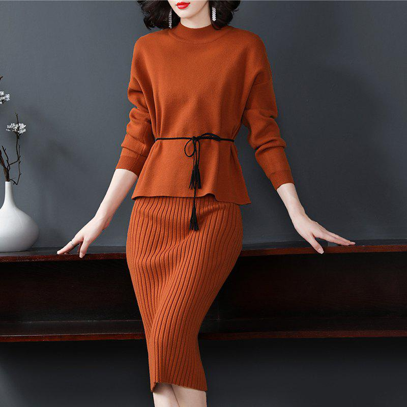A Small Knitted Jacket with A Bottom Dress - CHOCOLATE ONE SIZE