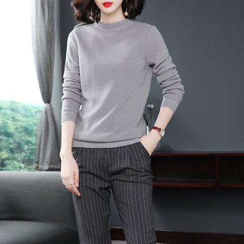 Knitting Comfort A Turtleneck Sweater with Long Sleeves - DARK GRAY L