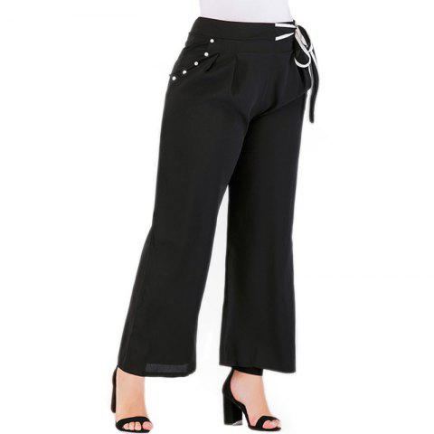 Fashionable Solid Color Casual Pants - BLACK 3XL