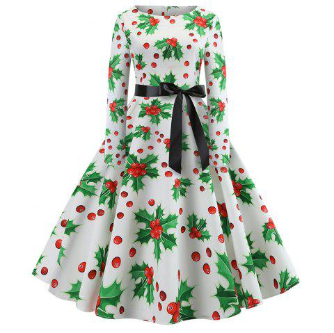 Long Sleeve Christmas Printing with A Belt Dress - multicolor F L