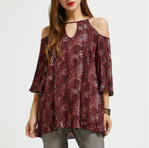 39920c99fc6 SBETRO Leopard Print Shirt Keyhole Neck Cold Shoulder 3/4 Bell Sleeve Tunic  Top -
