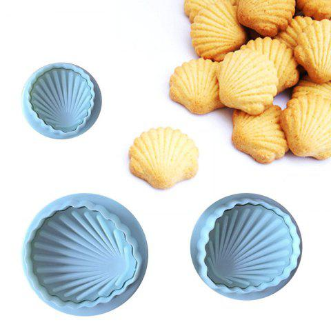 6PCS Shells 3D Cake Spring Printing Cutting and Pressing Mold DIY Biscuit Mold - LIGHT SKY BLUE 6PCS