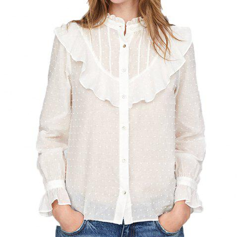 HAODUOYI Women'S Decorative Stand Collar Micro Perspective Girl Shirt White - WHITE 2XL