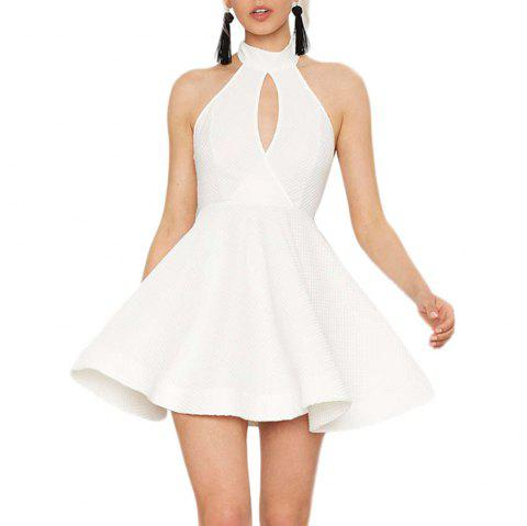 HAODUOYI Mode sexy robe dos nu ajourée blanche - Blanc L