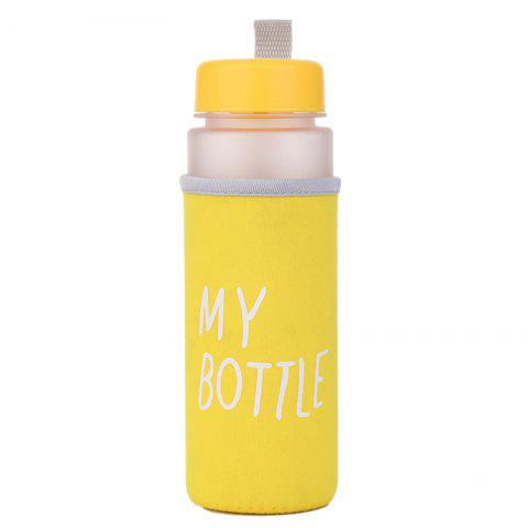 Portable plastic cup with cup cover - YELLOW 500ML