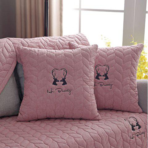 Simple Modern Cloth Art Embroidery Flax Non slip Sofa Pillow - LIGHT PINK 45*45CM