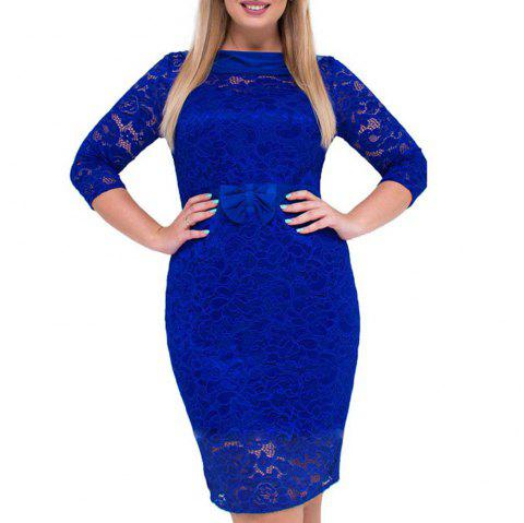 7248218720b 41% OFF  2019 Solid Color Fashion Elegant Lace Large Size Dress In ...