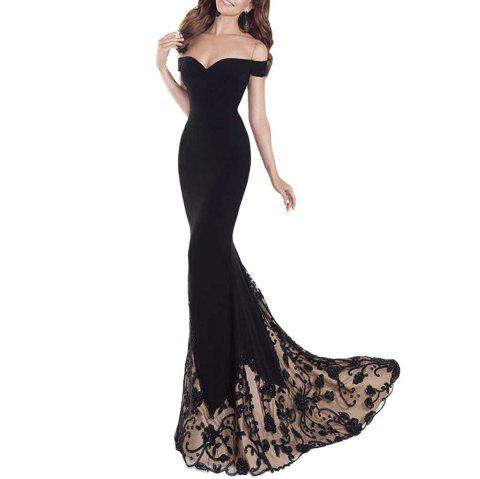 A Floor-Length Black Banquet Dress with An Off-The-Shoulder Gown - BLACK M