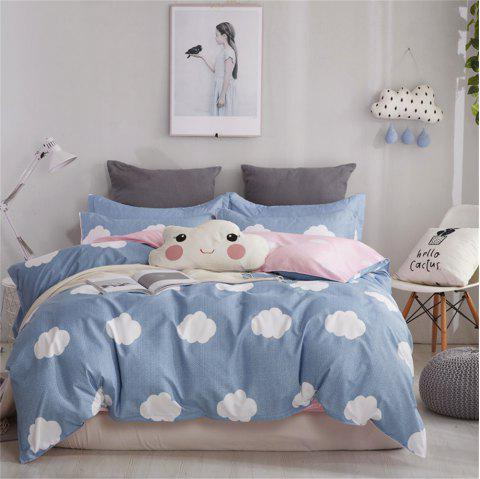 OMONNES Four Pieces of Bed small Fresh Simple Sheets Quilt and White Clouds - BLUE IVY DOUBLE