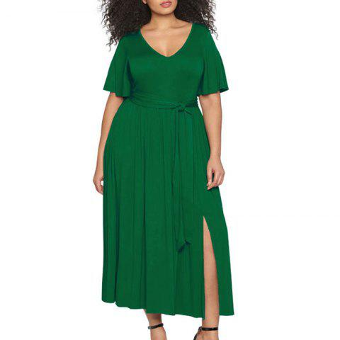 6XL Automne Hiver Femmes Dress Plus Size Sexy Party Long Maxi Dress Big Plus Size - Vert 3XL