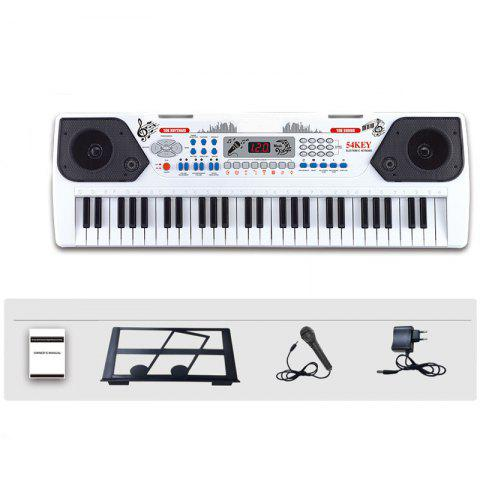 54 Keys Electronic Keyboard Organ Piano Microphone Adapter Music-Stand LCD - WHITE M