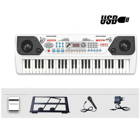 54 Keys Electronic Keyboard Organ Piano Microphone Adapter Music-Stand LCD USB - WHITE M
