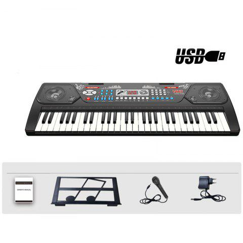 54 Keys Electronic Keyboard Organ Piano Microphone Adapter Music-Stand LCD USB - BLACK M