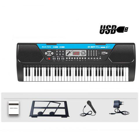 61 Keys Electronic Keyboard Piano Musical Instrument Microphone Adapter LCD USB - BLACK M