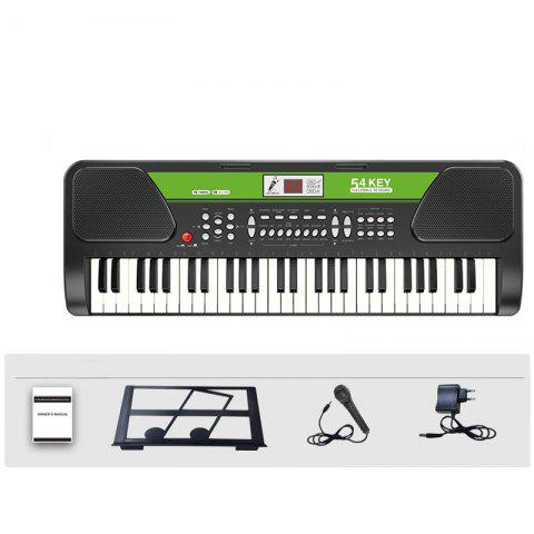 54 Keys Electronic Keyboard Music Instrument Piano Microphone Adapter LCD - BLACK S