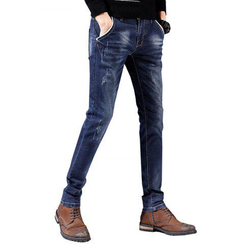 Men'S Pants Casual Pants Sports Pants Straight Pants Working Party Outing Pants - BLUEBERRY BLUE 28