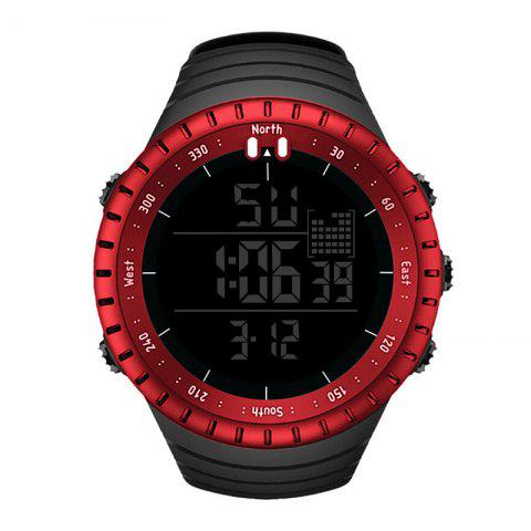SENORS Men's Sporty Watch Waterproof Big Dial Multi-function Electronic Watch Ac - RED
