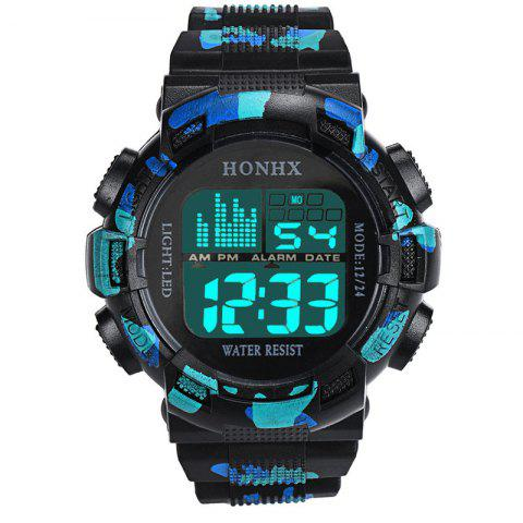 HONHX Men Date Multi-Function Movement Waterproof LED Electronic Watches - BLUE