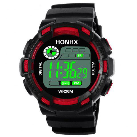 HONHX Men Army Sport LED Waterproof Date Clock Digital Watch - RED
