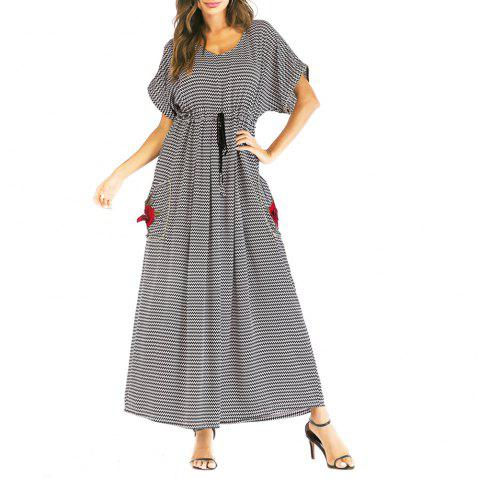 Wave Stripe Waist-Controlled Pocket Long Dress Middle East Casual Dress - BLACK M