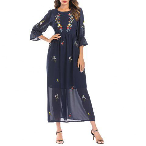 Elegant Embroideried Chiffon Dress - CADETBLUE 2XL