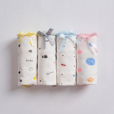 Four Gift Boxes Cotton Mid-Waist Students Cute Hip Cartoon Briefs - multicolor B XL