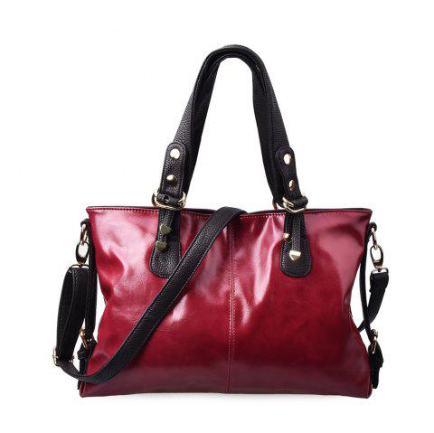 Women Vintage PU Leather Tote Bag Shoulder Top-Handle Cross Body Handbags - RED WINE 1PC