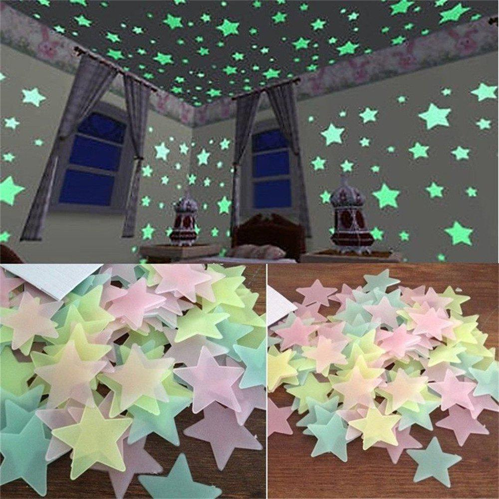 Image of 100 Pcs 3CM Star Modeling Luminous Patch 3D Stereoscopic Wall Stickers
