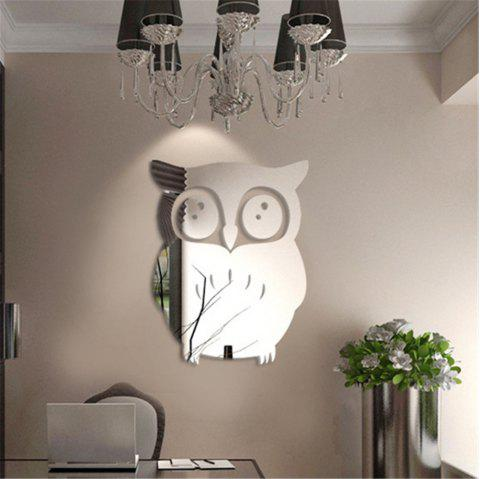 Owl Mirror Modeling Wall Sticker With Its Back Glue Can Be Removed Silver