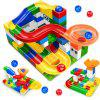 DIY Marble Race Run Maze Ball ABS Funnel Slide Track Building Blocks Toy 52Pcs - multicolor A 104PCS