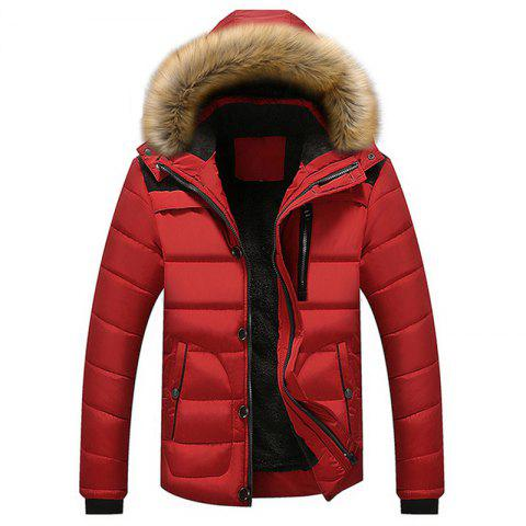 New Man Warm Fashion with Hooded Casual Parka Coat - RED XL