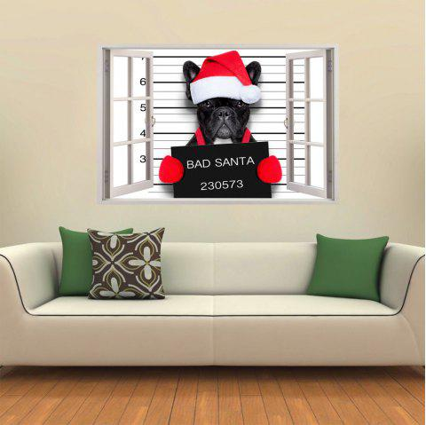 3D Wall Sticker Creative White Window Christmas Dog - multicolor