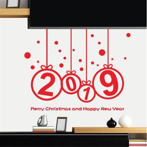 Christmas Decorating Sticker 2019 Christmas and New Year'S Happiness Can Remove - RED 14 X 20 INCH