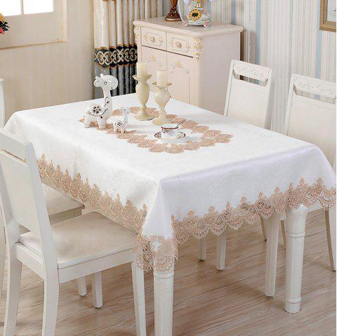 Fashion Home Table Decoration Lace Satin Drill Rectangular Table Cloth - WHITE 130*180*0.5CM