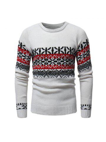 751503335c Christmas Snowflake Men s Casual Slim Round Neck Knit Pullover