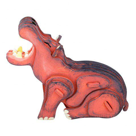Robud 3D Three-Dimensional Coloring Wood Assembled Children'S Toy Hippo HC211 - multicolor SINGLE