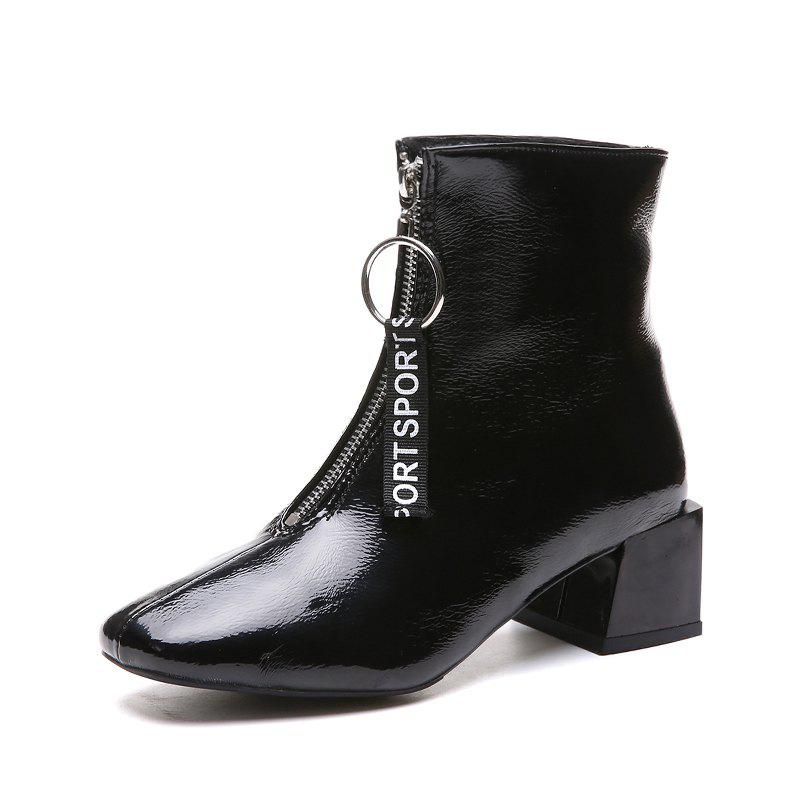 Autumn and Winter New Front Zipper Boots Fashion Thick Heels Boots - BLACK EU 39