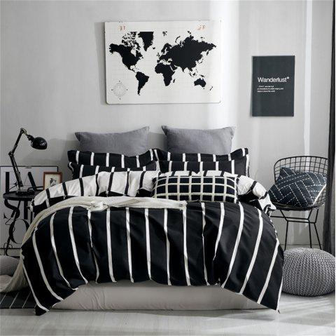 OMONNES Four Pieces of Bed fresh simple Sheets quilt Cover Nordic Era - BLACK QUEEN SIZE