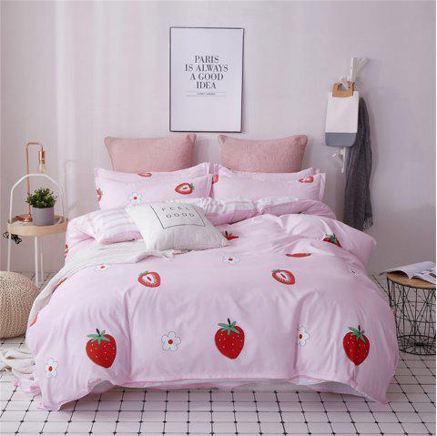 OMONNES Four Sets of Bed Fresh and Simple Sheets Quilt Strawberry Pie - PINK KING SIZE