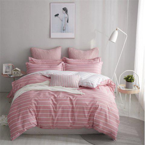 OMONNES Four Sets of Bed Fresh and Simple Sheets Quilt First Love Powder - BLUSH RED KING SIZE