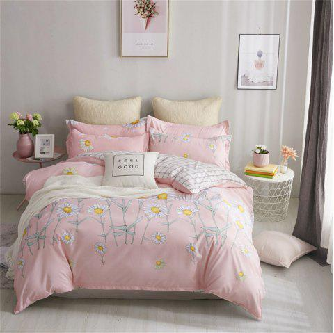 OMONNES Four Sets of Bed Fresh and Simple Sheets Quilt Bright Spring - BLUSH RED FULL