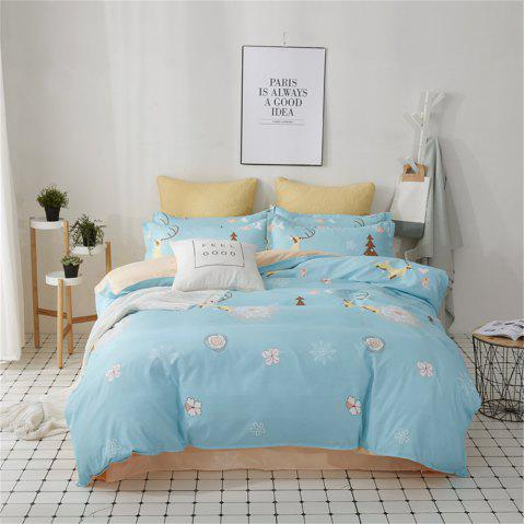 OMONNES Bed Four Sets of Fresh and Simple Sheets Quilt Winter Home - PALE BLUE LILY DOUBLE
