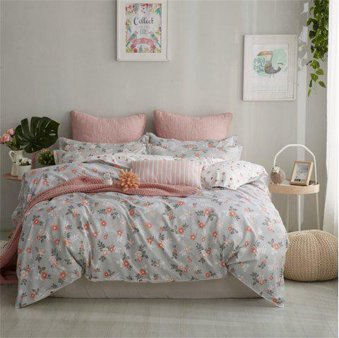 OMONNES Four Sets of Beds Fresh and Simple Sheets Quilt Covers Flowers Bloomi - GRAY GOOSE DOUBLE