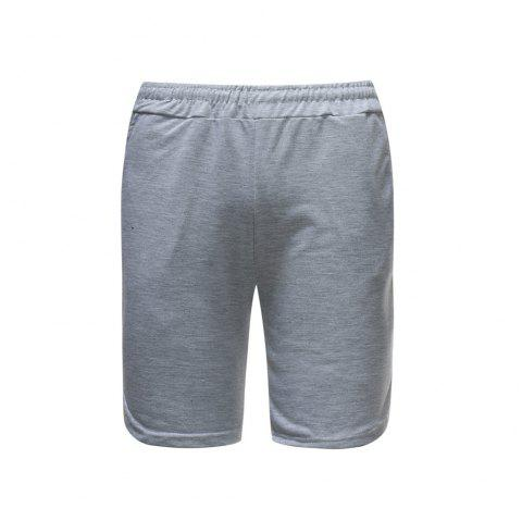 Shorts Mens Bermuda 2018 Summer Men Beach Hot Cargo Simple Letter Solid - LIGHT GRAY 2XL
